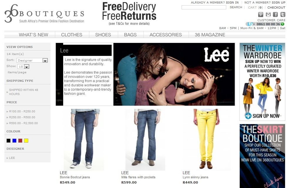 Lee Jeans Now Available On 36 Boutiques